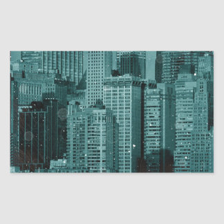 New York - Damaged Photo Effect Rectangular Sticker