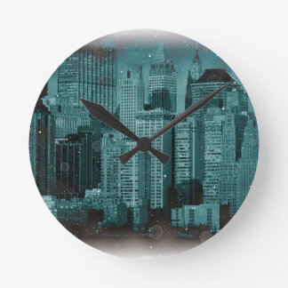 New York - Damaged Photo Effect Round Clock