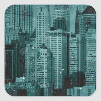 New York - Damaged Photo Effect Square Sticker