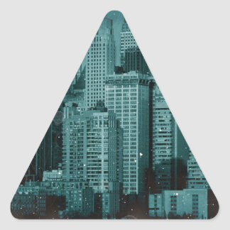 New York - Damaged Photo Effect Triangle Sticker