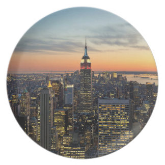 New York dawn skyline Dinner Plate