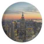 New York dawn skyline Plate