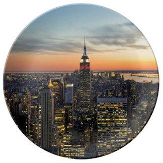 New York dawn skyline Porcelain Plate