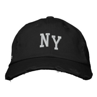NEW YORK DISTRESSED CHINO TWILL CAP - BLACK