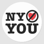 new york doesn't love you i love ny parody classic round sticker