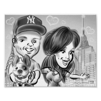 New York Dog Lovers' Caricature Poster