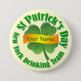 New York drinking team St Patrick's Pinback Button