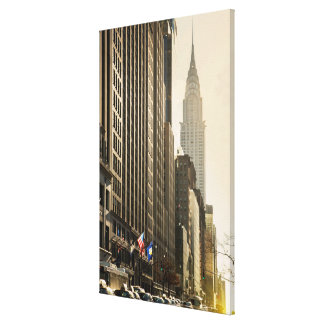 New York, E 42 St and Chrysler Building Stretched Canvas Prints