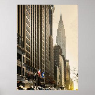 New York, E 42 St and Chrysler Building Print