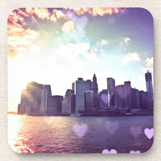 New York Fairy Tale - Rainbow Heart Bokeh Beverage Coaster