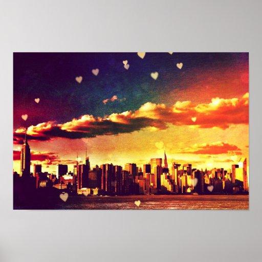 New York Fairy Tale - Skyline Hearts Poster