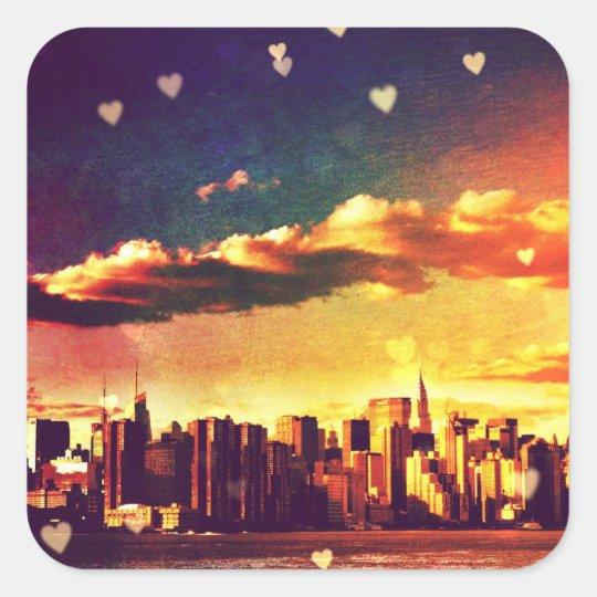 New York Fairy Tale - Skyline Hearts Square Sticker