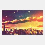 New York Fairy Tale - Skyline Hearts Rectangle Sticker