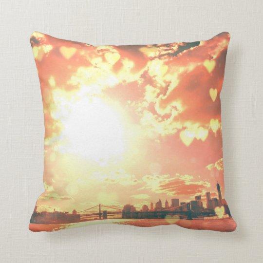 New York Fairy Tale - Soft Hearts Throw Pillow