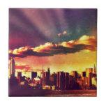 New York Fairytale Skyline - Rainbow Ceramic Tile