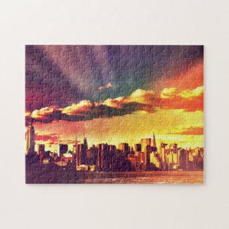 New York Fairytale Skyline - Rainbow Jigsaw Puzzle