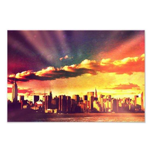 New York Fairytale Skyline - Rainbow Photograph