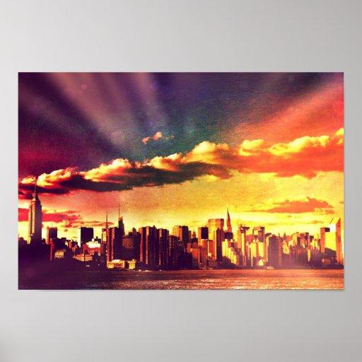 New York Fairytale Skyline - Rainbow Poster