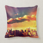 New York Fairytale Skyline - Rainbow Throw Pillow