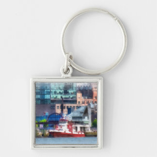 New York Fire Boat Silver-Colored Square Keychain