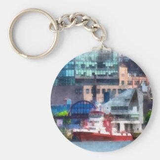 New York Fire Boat Basic Round Button Keychain