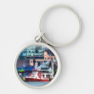 New York Fire Boat Silver-Colored Round Keychain