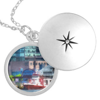 New York Fire Boat Round Locket Necklace