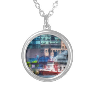 New York Fire Boat Round Pendant Necklace
