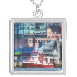 New York Fire Boat Square Pendant Necklace