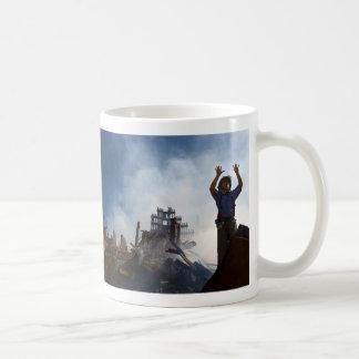 New York Fireman in Rubble of World Trade Center Classic White Coffee Mug