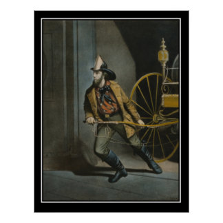 New York Fireman XIX Century Vintage Poster