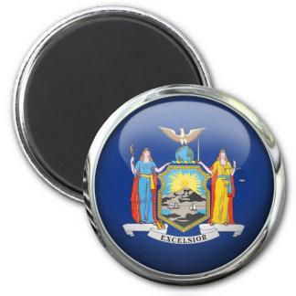 New York Flag Glass Ball Magnet