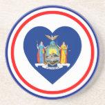 New York Flag Heart Drink Coasters