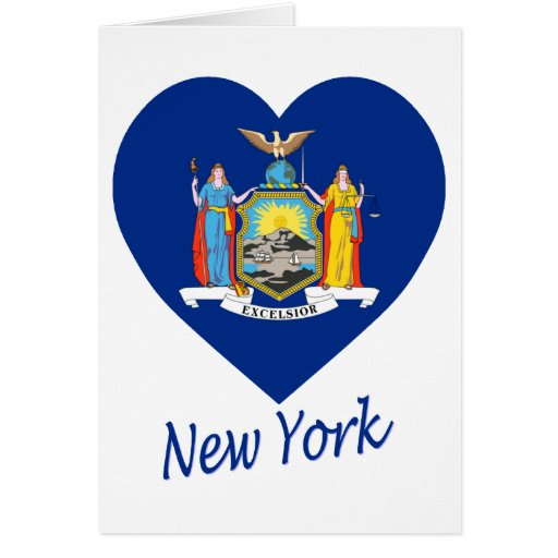 New York Flag Heart Greeting Cards