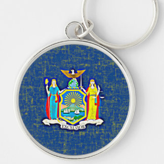 NEW YORK FLAG Silver-Colored ROUND KEYCHAIN