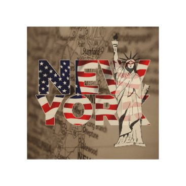 Art Themed New York Flag Map Liberty Collage Wood Wall Art