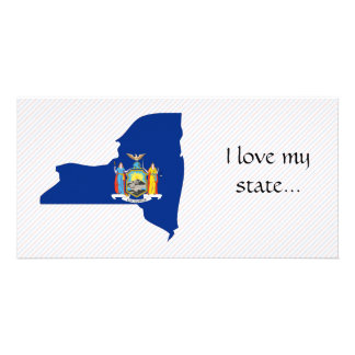 New York Flag Map Photo Greeting Card