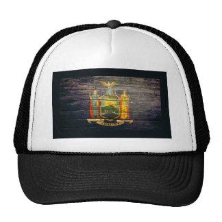 New York Flag Old Wood Trucker Hat