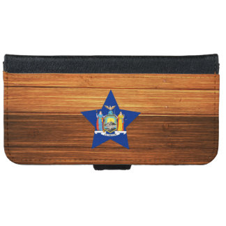 New York Flag Star on Wood iPhone 6 Wallet Case