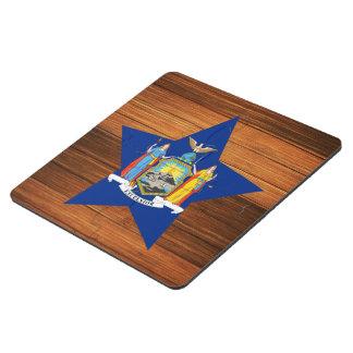 New York Flag Star on Wood Puzzle Coaster