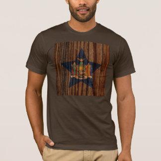 New+York Flag Star on Wood theme T-Shirt