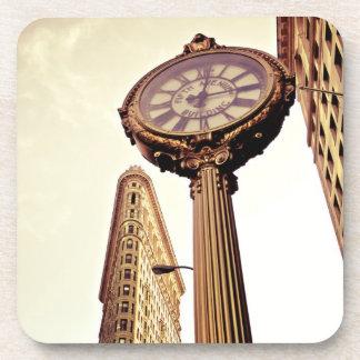 New York - Flatiron Building and Clock Beverage Coaster
