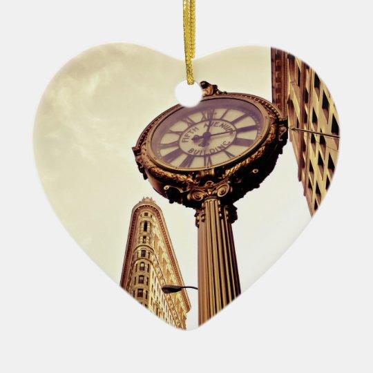New York - Flatiron Building and Clock Ceramic Ornament