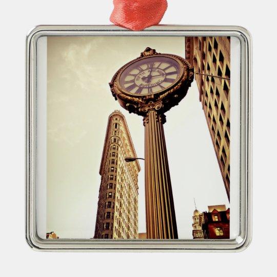 New York - Flatiron Building and Clock Metal Ornament