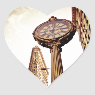 New York - Flatiron Building and Clock Heart Stickers