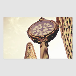 New York - Flatiron Building and Clock Rectangle Sticker
