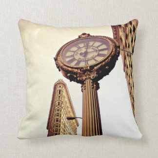 New York - Flatiron Building and Clock Throw Pillow