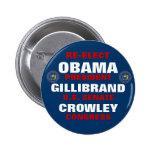 New York for Obama Gillibrand Crowley Pinback Button