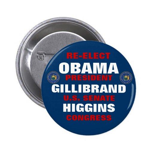 New York for Obama Gillibrand Higgins 2 Inch Round Button