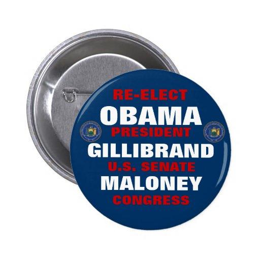 New York for Obama Gillibrand Maloney Pinback Button